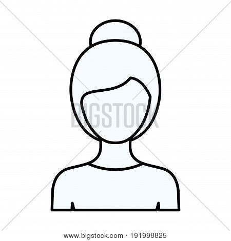 sketch silhouette of faceless half body woman with collected hairstyle vector illustration