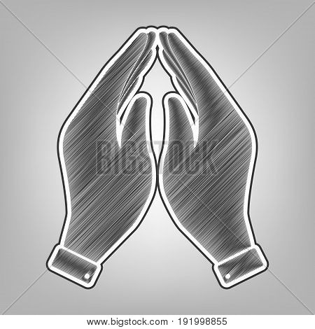 Hand icon illustration. Prayer symbol. Vector. Pencil sketch imitation. Dark gray scribble icon with dark gray outer contour at gray background.