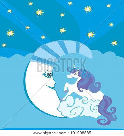 Cute magic unicorn and moon , vector illustration