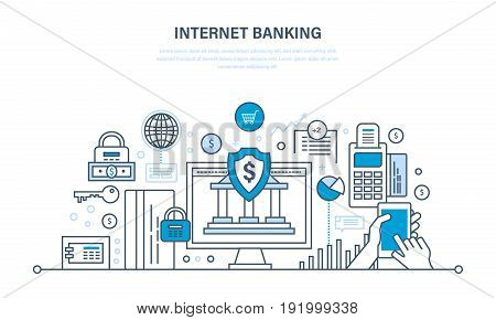 Internet banking, protection, guarantee payment security, finance, cash deposits, purchases and money transfers, analysis of finance. Illustration thin line design of vector doodles.
