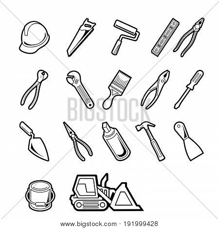 Vector construction tools icon set. Vector Illustration.. Collection set