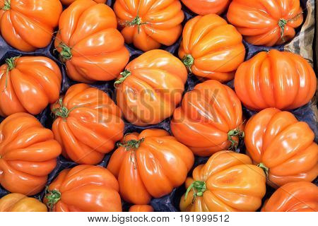 Beefsteak tomatoes for sale at a market