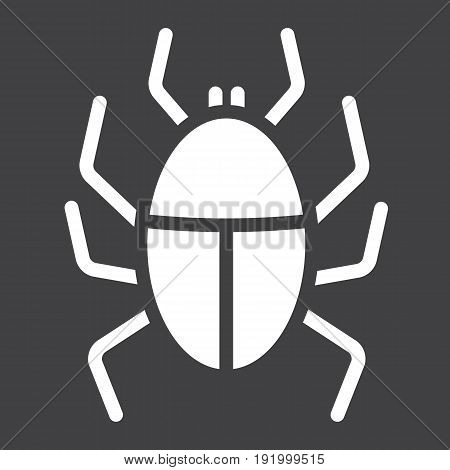 Virus solid icon, infection and security, vector graphics, a glyph pattern on a black background, eps 10.