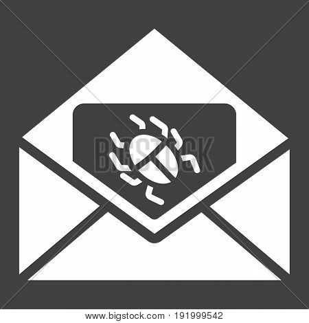 Virus in email solid icon, spam and security, vector graphics, a glyph pattern on a black background, eps 10.