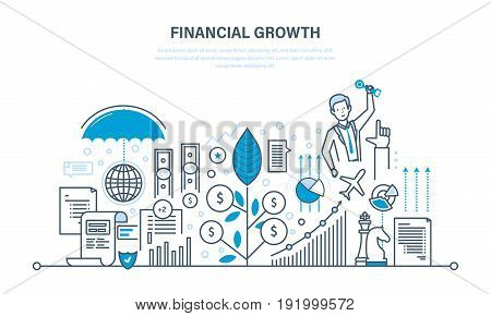 Financial growth. Analysis, market research, deposits, savings, statistics and management, growth of deposits and investments, protection of finance. Illustration thin line design of vector doodles.