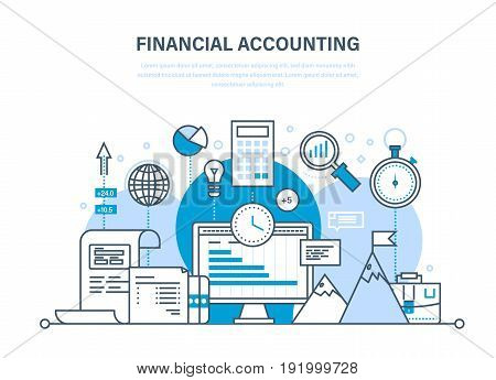 Financial accounting, analysis, market research, deposits, contributions and savings, statistics, accounting, time management. Illustration thin line design of vector doodles, infographics elements