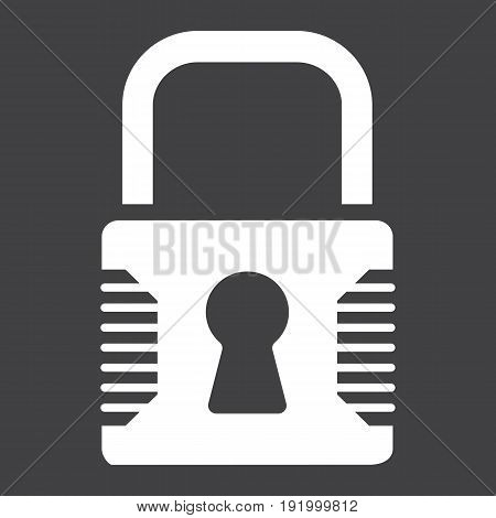 Padlock solid icon, security and lock, vector graphics, a glyph pattern on a black background, eps 10.