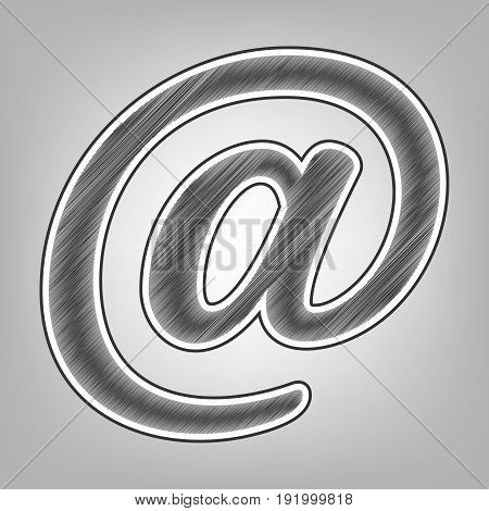 Mail sign illustration. Vector. Pencil sketch imitation. Dark gray scribble icon with dark gray outer contour at gray background.