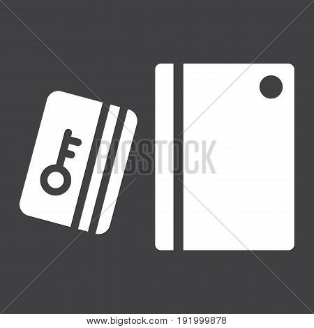 Swipe Card Reader With Keypad solid icon, security access and electronic lock, vector graphics a glyph pattern on a black background, eps 10.