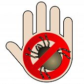 Tick parasite warning sign. Caution acarus. Mite allergy. Epidemic. Human mite parasite. Mite parasites. No Icon with hand. Mite warning sign. Vector illustration poster