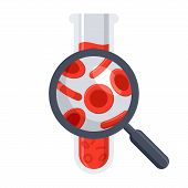 Hematology concept with red blood cell in test tube and magnifying glass, vector illustration in flat style poster