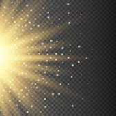 Gold glowing light burst explosion on transparent background. Bright yellow flare effect decoration with ray sparkles. Transparent shine gradient glare texture. Vector illustration lights effect eps10 poster