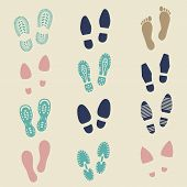 Colorful footprints - female, male and sport shoes footmarks. Rubber shoe sole print. Vector illustration poster