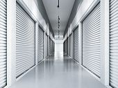 Storage facilities with white doors. Interior units. 3d rendering poster