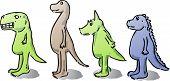 Cute cartoon dinosaurs hand-drawn color comic illustrations poster