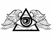 Vector hand sketched illustration. All seeing eye pyramid symbol with wings. New World Order. Hand drawn Eye of Providence. Alchemy religion spirituality occultism tattoo art. Template for poster print for t-shirt. poster