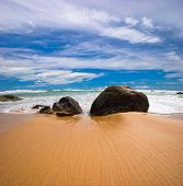 Big stones on the sand tropical beach. Phuket island. Andaman sea. Kingdom Thailand poster