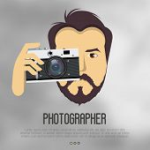 Hipster, bearded man with camera take a photo. Realistic vector illustration for logo of photographer, cameraman, filmmaker. Vector illustration. poster