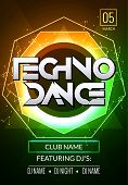 Techno music poster. Electronic club deep music. Musical event disco trance sound. Night party invitation. DJ flyer poster. poster