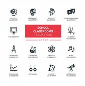 School classrooms - modern vector icons, pictograms set. Biology, geography, history, foreign language, IT, algebra, geometry, chemistry, physics, music, economics, astronomy, gym, plastic arts room poster