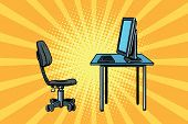 computer workstation and chair. Pop art retro vector illustration poster