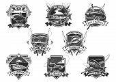 Fishing club icons set for fisher sport or trip. Vector isolated symbols of big fish catch and fisherman tackle of fishing rod, bait and lure or fishery net and flounder or salmon and trout on hook poster