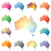 Australia geometric polygonal mosaic style maps collection. Bright abstract tessellation low poly style modern design. Australia polygonal maps for your infographics or presentation. poster