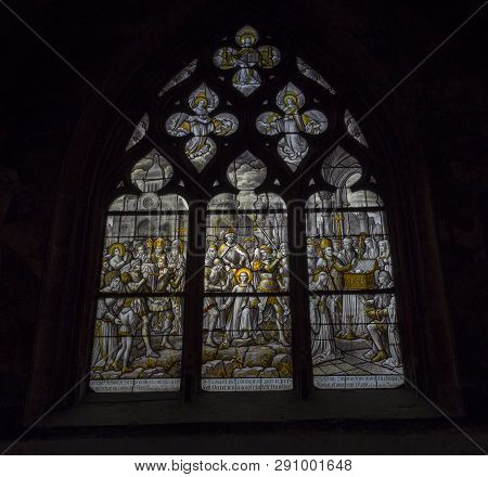 Beaune, France - August 08, 2016: Glass Inside A Church In The Town Beaune In Burgundy,france