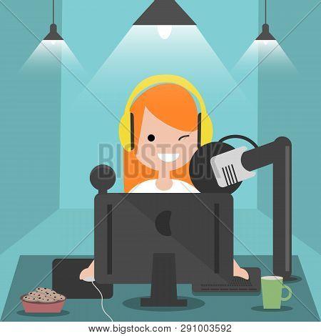 Young Character Sitting At Computer Desk.streaming.cloud Gaming Service.flat Cartoon Design.clip Art