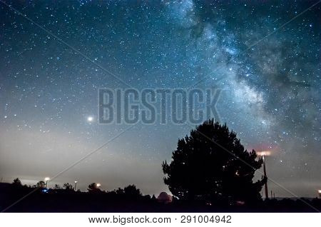 Milky Way From The Astronomical Observatory With A Tree In The Background