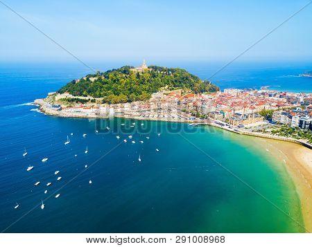 San Sebastian Or Donostia Aerial Panoramic View. San Sebastian Is A Coastal City In The Basque Count