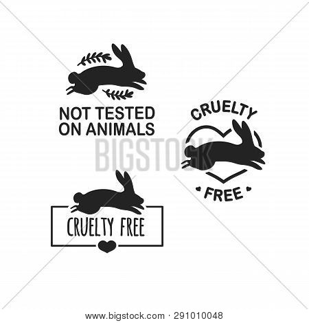 Set Animal Logo Cruelty Free. Sign With Silhouette Rabbit And Flower And Nature Leaf. Design Stapm F