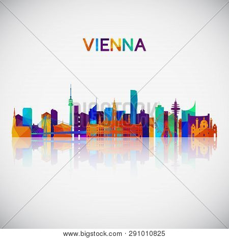 Vienna Skyline Silhouette In Colorful Geometric Style. Symbol For Your Design. Vector Illustration.