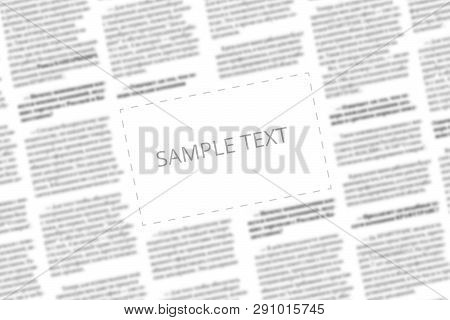 Angularly Shot Black And White Newspaper With Copy Space In The Middle. Written Words Sample Text In