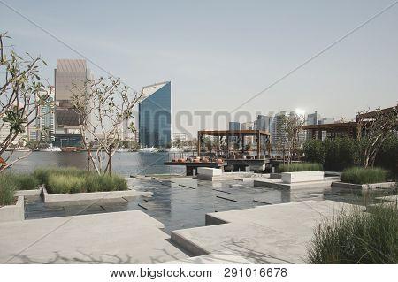 January, 2019, Uae, Dubai: View Over Al Seef Area And Restaurant On Water
