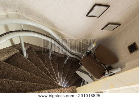 Mechanical Chair Lift Taking Disabled Or Aged People Up And Down Stairs Senior, Stairlift For Disabl