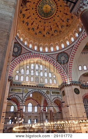 A view of the interior of the Suleiman mosque situated in the Turkish city of Istanbul. poster