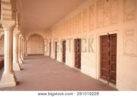 Agra, India - March 23, 2019: Ancient, Old Doors And Architectural Details Of Wall And Pillars (colo