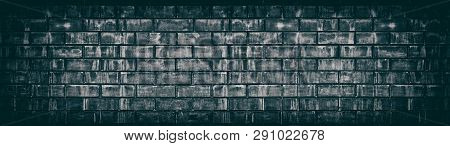Wide Old Black Shabby Brick Wall Texture. Dark Aged Masonry Panorama. Brickwork Panoramic Grunge Bac