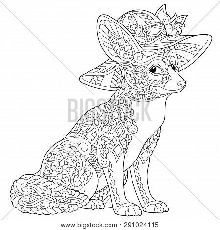 Coloring Page. Coloring Book. Anti Stress Colouring Picture With Fennec Fox. Freehand Sketch Drawing