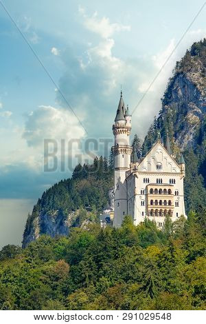 Beautiful View Of World-famous Neuschwanstein Castle, The 19th Century Romanesque Revival Palace Bui