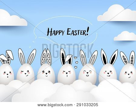 Happy Easter Funny Cute Rabbits With Calligraphic Text And Easter Eggs On Light Blue Background. Eas
