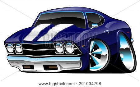 Classic American Muscle Car Cartoon, Deep Cobalt Blue, Vector Illustration