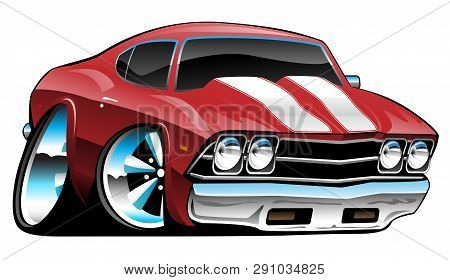 Classic American Muscle Car Cartoon, Bold Red, Vector Illustration