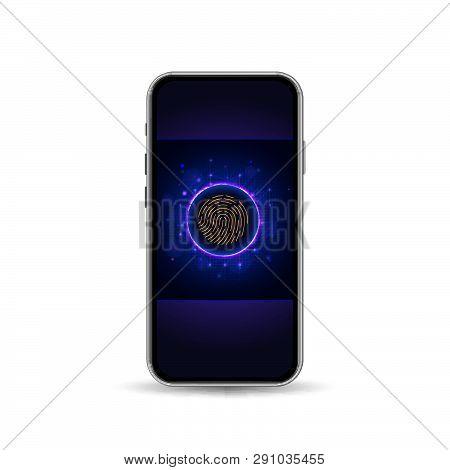 Online Authorization By Fingerprint Scan Through Mobile App Interface. Vector Illustration