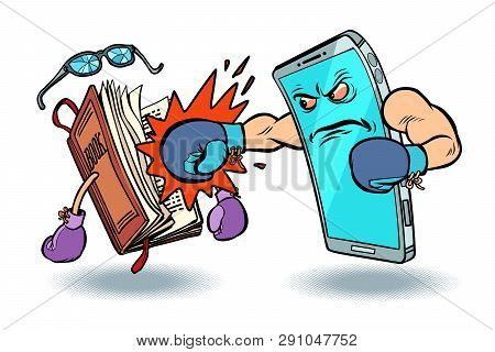 Smartphone Against Book. Enmity Of Technology And Culture Concept. Comic Cartoon Pop Art Vector Retr