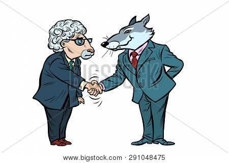 Wolf And Sheep Business Negotiations, Friendship. Isolate On White Background Comic Cartoon Pop Art