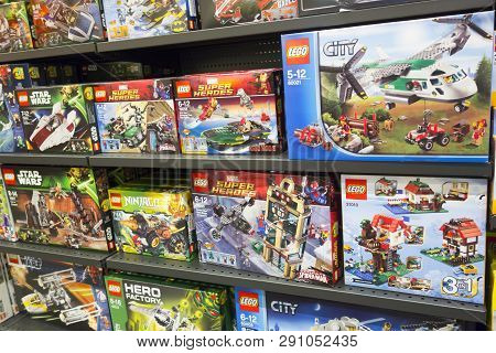 Paphos, Cyprus - December 08, 2013: Lego Boxes On Shelves In Supermarket. Here Are The Famous Lego S