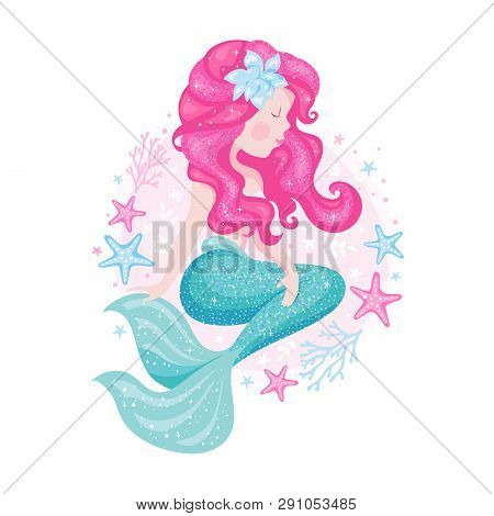 Cute Mermaid For T Shirts And Fabrics Or Kids Fashion Artworks, Children Books. Fashion Illustration