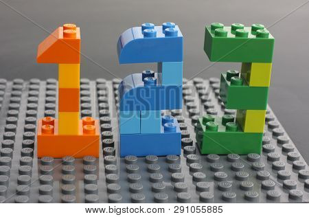 Tambov, Russian Federation - March 27, 2015 Lego Custom Numbers 1, 2, 3 On Lego Gray Baseplate. Stud